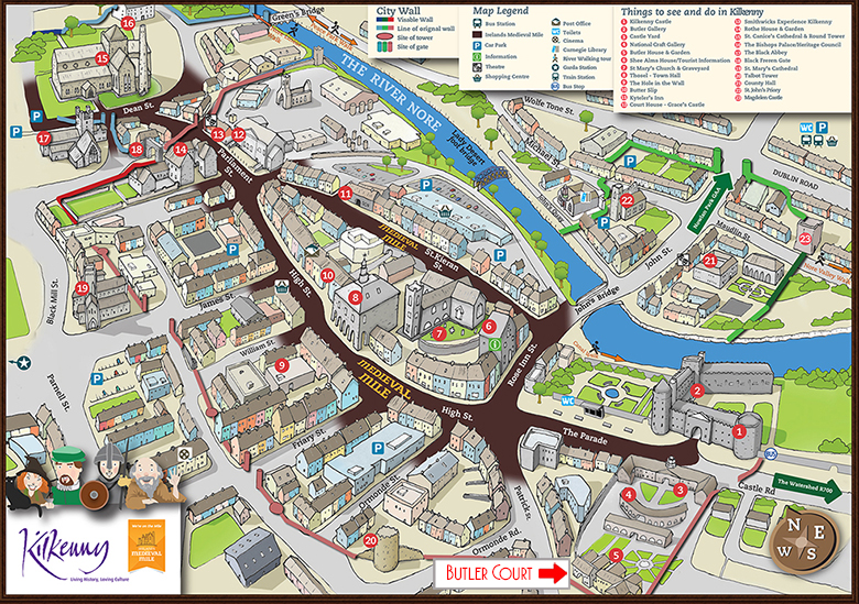 Kilkenny Medieval Mile map | Butler court guest accommodation