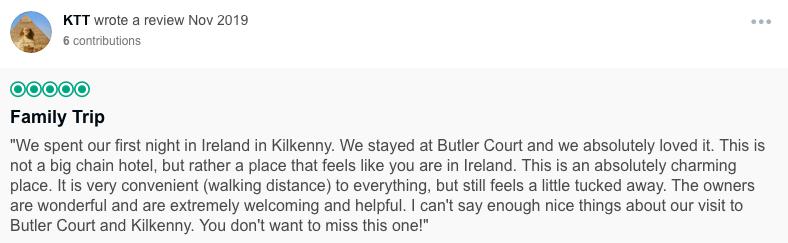 butler court, B&B, kilkenny, ireland, rick steves recommended,